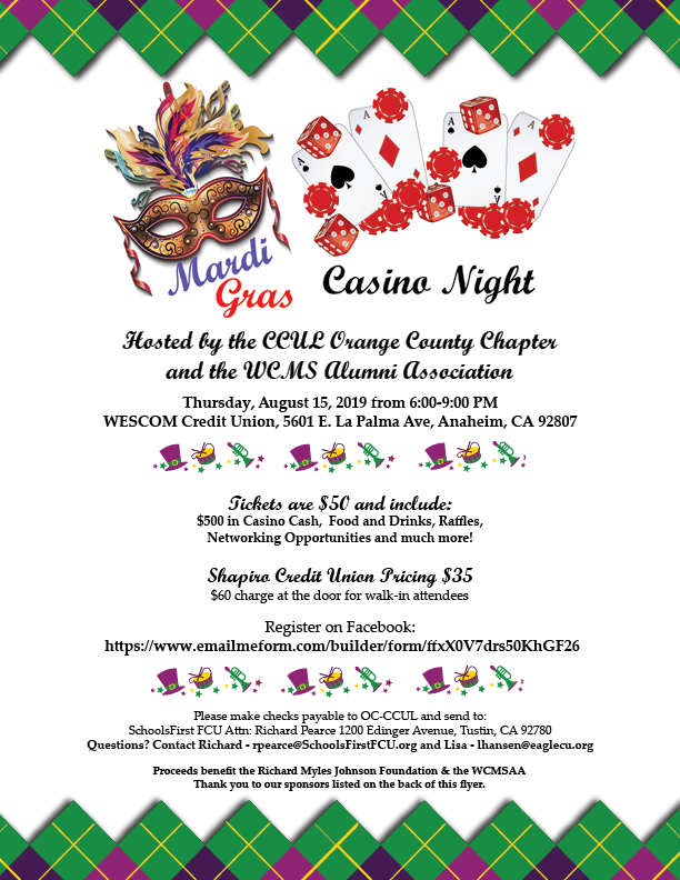 19 Casino night flyer